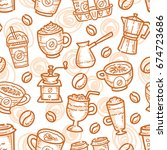 coffee seamless pattern | Shutterstock . vector #674723686