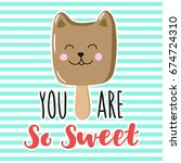 charming ice cream cat with... | Shutterstock .eps vector #674724310