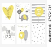 baby shower card design | Shutterstock .eps vector #674724769