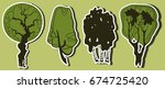 set of hand drawn tree stickers   Shutterstock .eps vector #674725420