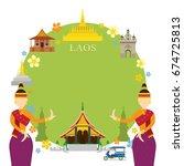 laos landmarks  traditional... | Shutterstock .eps vector #674725813