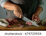 Artisan Salami Is Being Cut...
