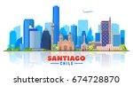 santiago de chile city skyline... | Shutterstock .eps vector #674728870