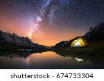 5 billion star hotel. camping... | Shutterstock . vector #674733304