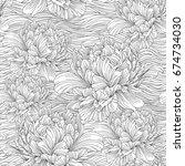 hand drawn linen peony flower ... | Shutterstock .eps vector #674734030