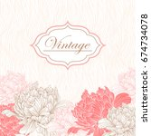 vintage card or invitation with ... | Shutterstock .eps vector #674734078