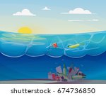pollution problem in the ocean  ... | Shutterstock .eps vector #674736850