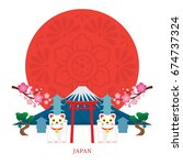japan landmarks with decoration ... | Shutterstock .eps vector #674737324