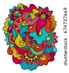 beautiful doodle art floral... | Shutterstock .eps vector #674737669
