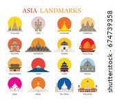 Asia Landmarks Architecture Building Icons Set, Famous Place, Travel and Tourist Attraction  | Shutterstock vector #674739358