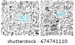 hand drawn food elements. set...   Shutterstock .eps vector #674741110