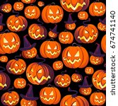 seamless halloween pattern with ... | Shutterstock .eps vector #674741140