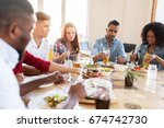 leisure  food and people... | Shutterstock . vector #674742730