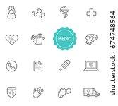 set of medical hospital raster... | Shutterstock . vector #674748964