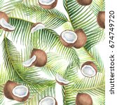watercolor seamless pattern... | Shutterstock . vector #674749720