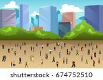 a vector illustration of crowd... | Shutterstock .eps vector #674752510