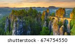 the bastei bridge  saxon... | Shutterstock . vector #674754550