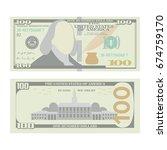 100 dollars banknote vector.... | Shutterstock .eps vector #674759170