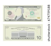 10 Dollars Banknote Vector....