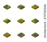 isometric way set of down  way  ... | Shutterstock .eps vector #674765266