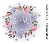 vector flowers beautiful wreath.... | Shutterstock .eps vector #674767090