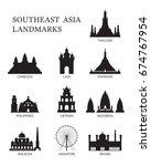 asean  southeast asia landmark... | Shutterstock .eps vector #674767954