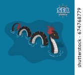 Sea Serpent In Isometric Style...