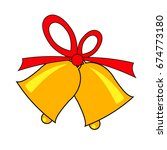 jingle bells with red bow on a... | Shutterstock .eps vector #674773180