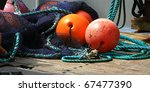 Fishing Floats On Deck Of A...