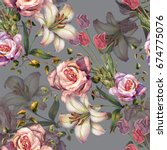 Watercolor Lily And Roses On A...