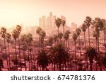 beautiful sunset of los angeles ... | Shutterstock . vector #674781376