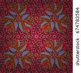 ornate zentangle seamless... | Shutterstock . vector #674783584