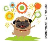 funny dog pug enjoys the... | Shutterstock .eps vector #674786380