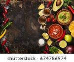 mexican food concept  tortilla... | Shutterstock . vector #674786974