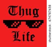 thug life glasses meme sticker. ... | Shutterstock .eps vector #674787658