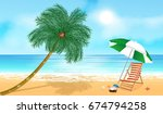 tropical beach with palm tree.... | Shutterstock .eps vector #674794258