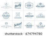 set of raster education icons... | Shutterstock . vector #674794780
