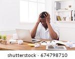 stressed black businessman in... | Shutterstock . vector #674798710