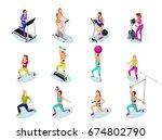 isometric fitness people set ...   Shutterstock .eps vector #674802790