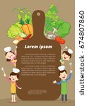cute happy family cooking meal... | Shutterstock .eps vector #674807860