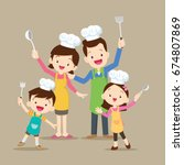 cute happy family cooking meal...   Shutterstock .eps vector #674807869