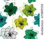 green lily flower pattern. | Shutterstock .eps vector #674809153