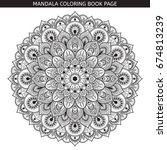 vector black mandala on white... | Shutterstock .eps vector #674813239