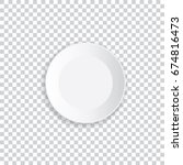 realistic white plate with... | Shutterstock .eps vector #674816473