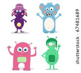 set of cute cartoon monsters.... | Shutterstock .eps vector #67481689
