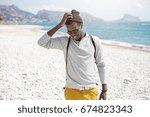 stylish black male in trendy... | Shutterstock . vector #674823343