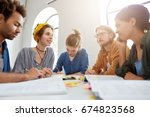 young college students from... | Shutterstock . vector #674823568