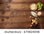 caesar sauce ingredients at... | Shutterstock . vector #674824048