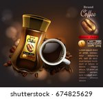 design of advertising coffee... | Shutterstock .eps vector #674825629