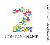 number two logo with blue ... | Shutterstock . vector #674832256